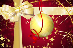 Xmass Gifts. Purple and yellow card for Christmas Background Royalty Free Stock Photography