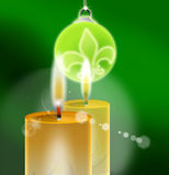 Xmass Green - Christmas Background. Christmas green background with candles and ball Stock Photos
