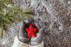 Xmass red stars in girl hands Royalty Free Stock Photos