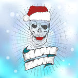 Xmass tattoo skull. Black Christmas skull symbol. Includes clean and grunge versions Stock Photos