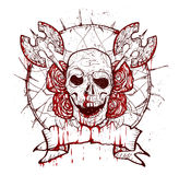 Xmass tattoo skull. Black Christmas skull symbol. Includes clean and grunge versions Stock Photo
