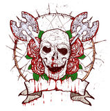Xmass tattoo skull. Black Christmas skull symbol. Includes clean and grunge versions Royalty Free Stock Images