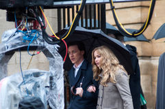 Xmen first class film set Jennifer Lawrence James McAvoy Stock Image