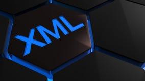 XML azul no hexagone - rendição 3D Fotografia de Stock