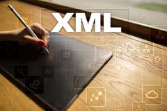 XML Sieć rozwój Interneta i technologii pojęcie Zdjęcie Stock