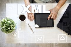 XML Sieć rozwój Interneta i technologii pojęcie Fotografia Stock