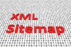 Xml sitemap. In the form of binary code, 3D illustration royalty free illustration