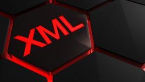 XML vermelho no hexagone - rendição 3D Fotografia de Stock Royalty Free
