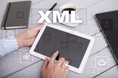 XML. Web development. Internet and technology concept. Royalty Free Stock Photography