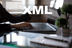 XML. Web development. Internet and technology concept. Royalty Free Stock Photo