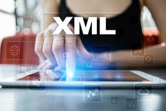 XML. Web development. Internet and technology concept. Stock Photo