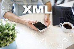 XML. Web development. Internet and technology concept. Royalty Free Stock Photos