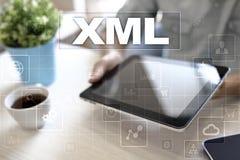 XML. Web development. Internet and technology concept. Stock Photos
