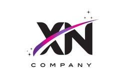 XN X N Black Letter Logo Design with Purple Magenta Swoosh Stock Photo
