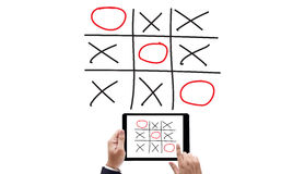 XO game of tic tac toe game  close up ox (Hand drawn tic-tac-toe Stock Photography
