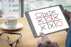 XO game of tic tac toe game  close up ox (Hand drawn tic-tac-toe Royalty Free Stock Photography