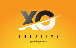 XO X O Letter Modern Logo Design with Yellow Background and Swoo Royalty Free Stock Images