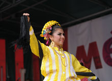 Xochicalli Mexican folkloric ballet. Performs in a concert on Grand Place during 12 edition of Folklorissimo Festival on September 15, 2012 in Brussels Stock Photo