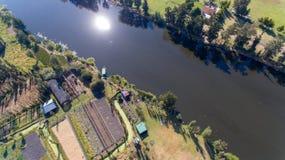 Xochimilco berömda våtmarker från Mexico - stad, flyg- sikt arkivfoto