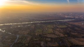 Xochimilco, famous wetlands from Mexico City, Aerial view. Wolrd patrimony and legacy royalty free stock image
