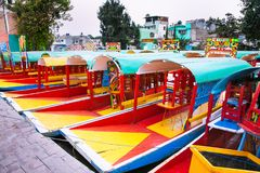 Row of boats in Xochimilco, Mexico city Stock Images