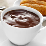 Xocolata i melindros, hot chocolate with typical pastries of Cat Royalty Free Stock Photo