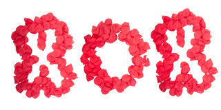 XOX die in roze bloemblaadjes wordt geschreven Stock Afbeelding