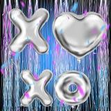 XOXO и баллоны серебра формы сердца и confetti фольги иллюстрация вектора