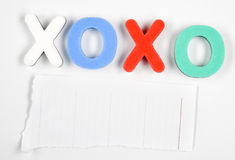 Xoxo and empty space Stock Images