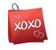 Xoxo escrito em um post-it Imagens de Stock
