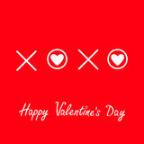 Xoxo Hugs and kisses Sign symbol mark Love White heart Word text lettering. Happy Valentines day. Greeting card. Flat design Red b Royalty Free Stock Photos