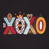 XOXO Lettrage tiré par la main Jour heureux du `s de Valentine Style à main levée griffonnage Lettres décoratives Vacances en fév Images stock