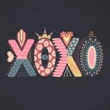 XOXO Lettrage tiré par la main Jour heureux du `s de Valentine Style à main levée griffonnage Lettres décoratives Vacances en fév Images libres de droits
