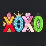 XOXO Lettrage tiré par la main Jour heureux du `s de Valentine Style à main levée griffonnage Lettres décoratives Vacances en fév Photographie stock