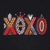 XOXO Ręka rysujący literowanie szczęśliwy dzień valentine s Freehand styl doodle dekoracyjni listy Wakacje w Luty Miłość Zdjęcie Royalty Free
