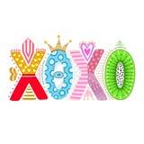 XOXO Ręka rysujący literowanie szczęśliwy dzień valentine s Freehand styl doodle dekoracyjni listy Wakacje w Luty Miłość Obrazy Royalty Free