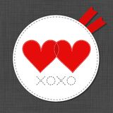 Xoxo red hearts in love Valentine's day card Royalty Free Stock Photo