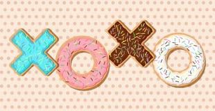 XOXO-vector donuts Royalty-vrije Stock Foto