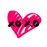 Xoxo vector sign with pink heart isolated on white background Royalty Free Stock Photo