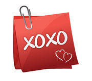 Xoxo written on a post it Stock Images