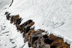 Xoxoxo-Bedeutung umarmt und die Küsse, die in den Schnee geschrieben werden Lizenzfreies Stockbild