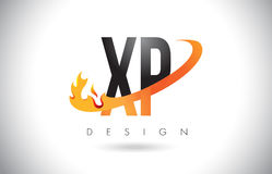 XP X P Letter Logo with Fire Flames Design and Orange Swoosh. Stock Photos