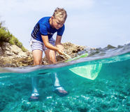 有xploring沿海自然的捕鱼网的男孩 图库摄影