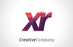 XR X R Letter Logo Design with Purple Forest Texture Flat Vector Stock Photo