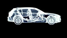 Xray car isolated on black vector illustration