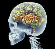 Xray of human head with fruit and vegetables for brain. Stock Photo