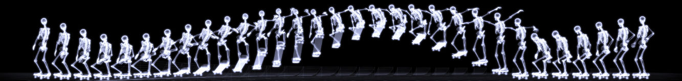 Xray of human skeleton jumping freestyle Stock Photography