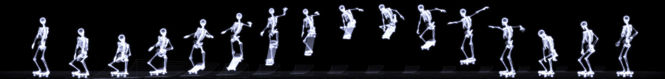 Xray of human skeleton jumping freestyle Stock Images
