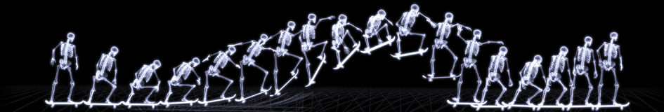 Xray of human skeleton jumping freestyle Royalty Free Stock Image
