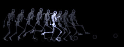 Xray of human skeleton playing soccer Royalty Free Stock Images